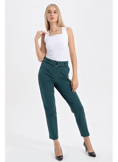 Jument Yüksek Bel D Tokalı Kemerli Boyfriend Ofis Pantolon Yeşil